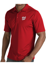 Antigua Washington Nationals Red Inspire Short Sleeve Polo Shirt