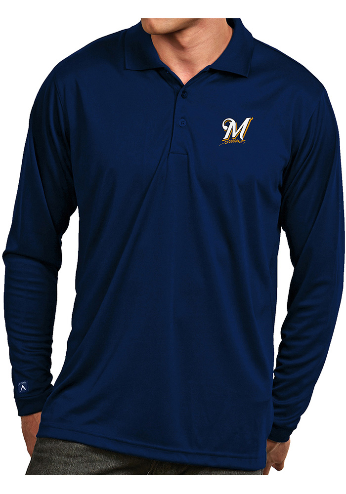 Antigua Milwaukee Brewers Mens Navy Blue Exceed Long Sleeve Polo Shirt - Image 1