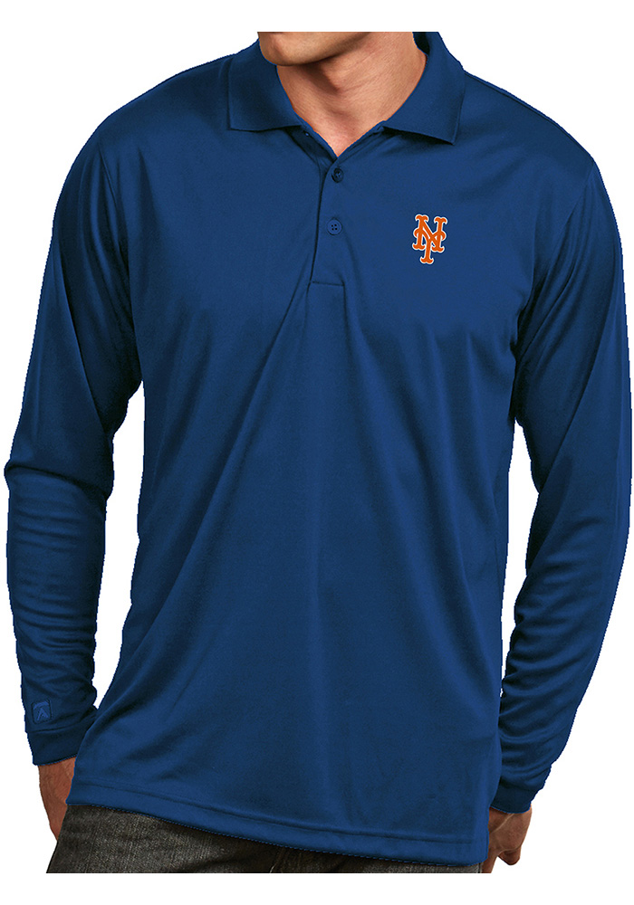 Antigua New York Mets Mens Blue Exceed Long Sleeve Polo Shirt - Image 1