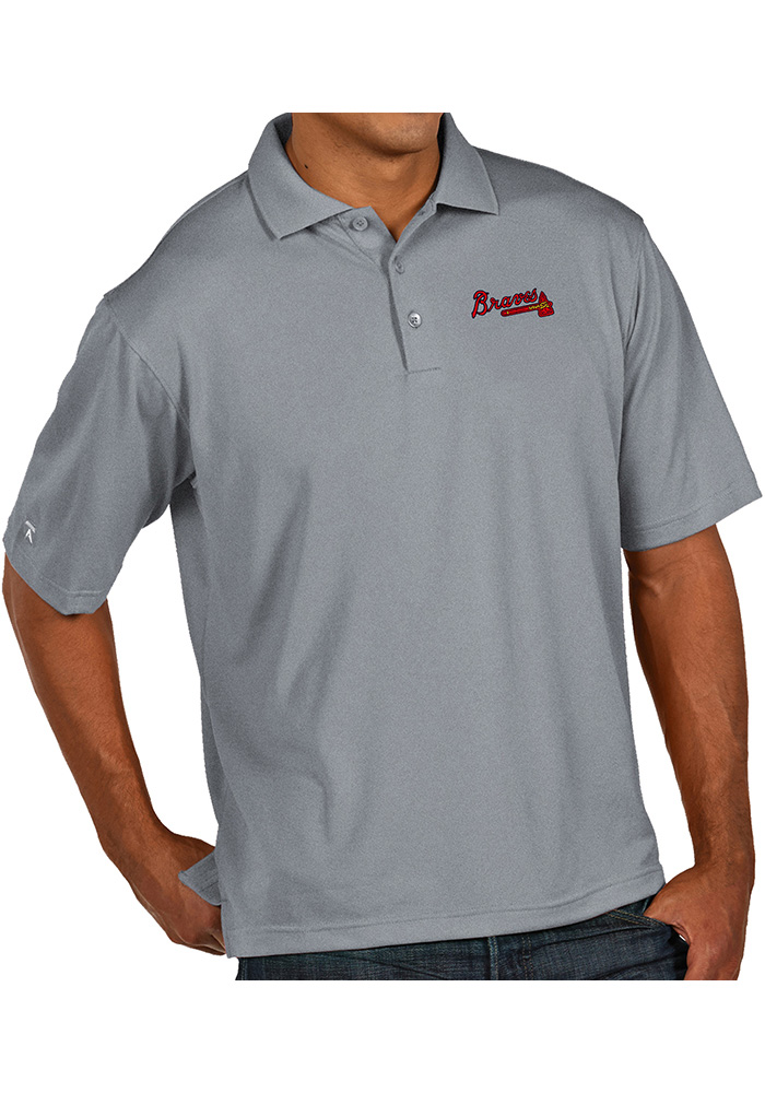 Antigua Atlanta Braves Mens Grey Pique Xtra-Lite Short Sleeve Polo - Image 1