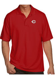 Antigua Cincinnati Reds Red Pique Xtra-Lite Short Sleeve Polo Shirt
