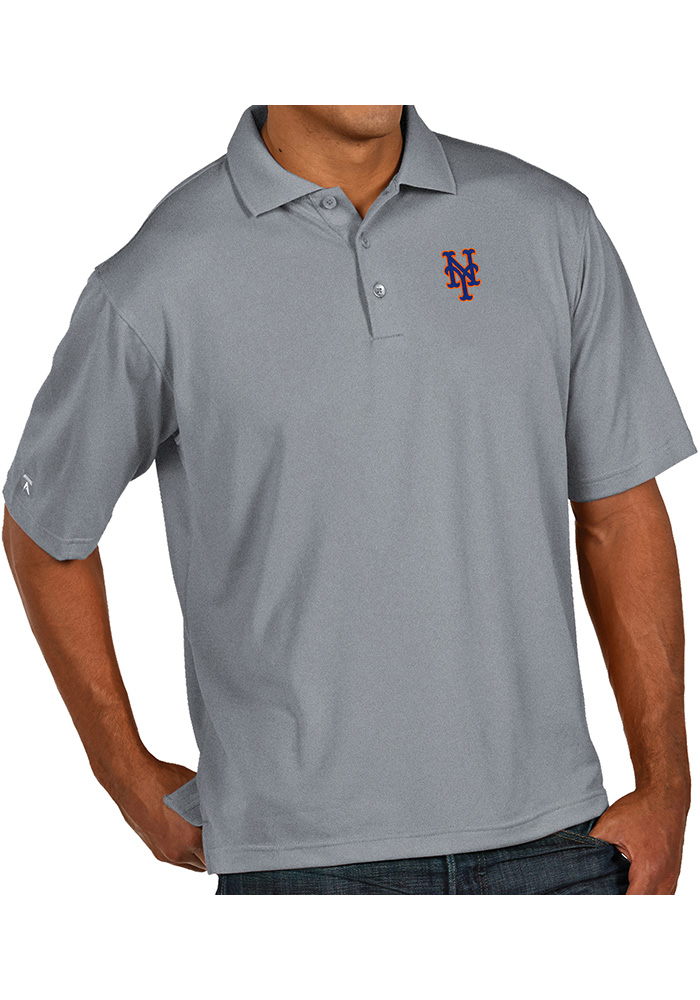 Antigua New York Mets Mens Grey Pique Xtra-Lite Short Sleeve Polo - Image 1