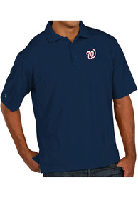 Antigua Washington Nationals Navy Blue Pique Xtra-Lite Short Sleeve Polo Shirt