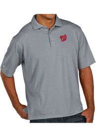 Antigua Washington Nationals Grey Pique Xtra-Lite Short Sleeve Polo Shirt