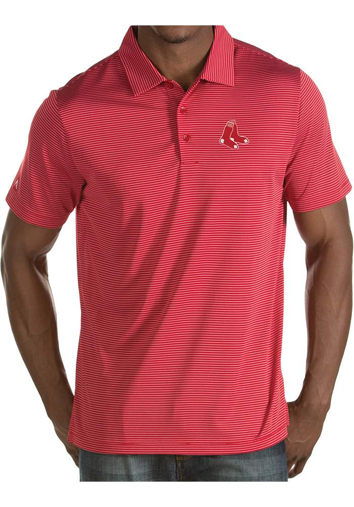 Antigua Boston Red Sox Mens Red Quest Short Sleeve Polo - Image 1