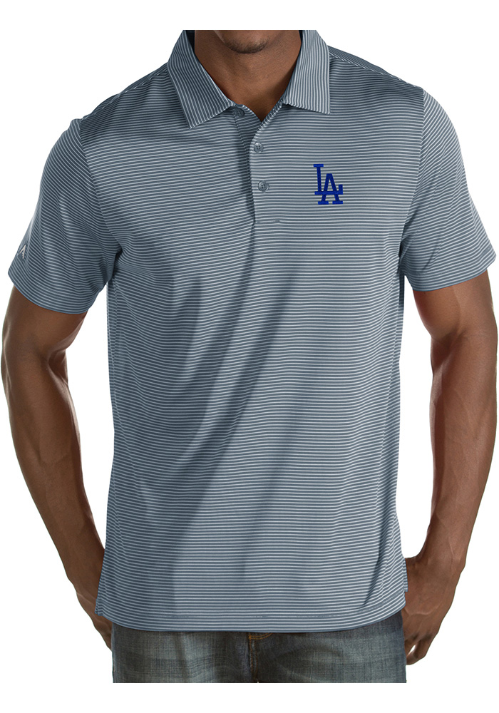 Antigua Los Angeles Dodgers Mens Grey Quest Short Sleeve Polo - Image 1