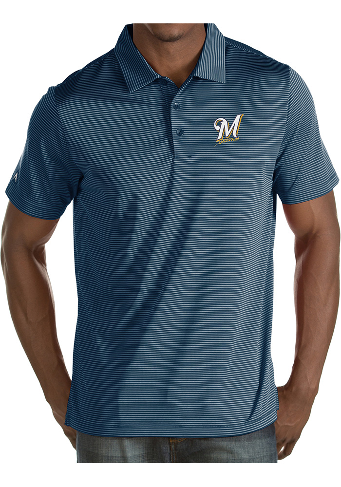 Antigua Milwaukee Brewers Mens Navy Blue Quest Short Sleeve Polo - Image 1