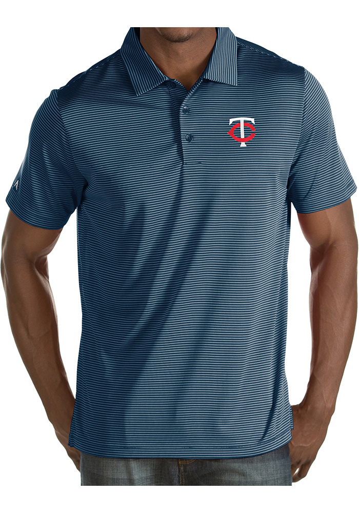 Antigua Minnesota Twins Mens Navy Blue Quest Short Sleeve Polo - Image 1