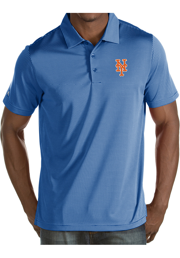 Antigua New York Mets Mens Blue Quest Short Sleeve Polo - Image 1