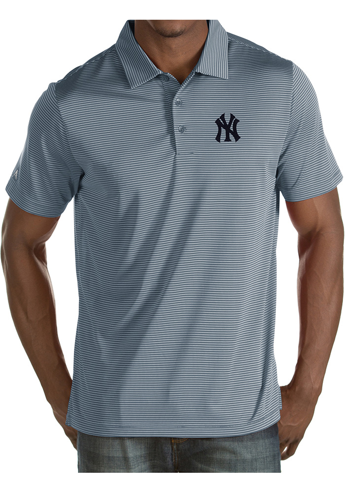 Antigua New York Yankees Mens Grey Quest Short Sleeve Polo - Image 1