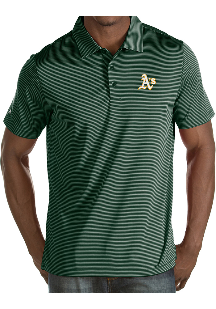 Antigua Oakland Athletics Mens Green Quest Short Sleeve Polo - Image 1