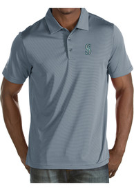 Antigua Seattle Mariners Grey Quest Short Sleeve Polo Shirt