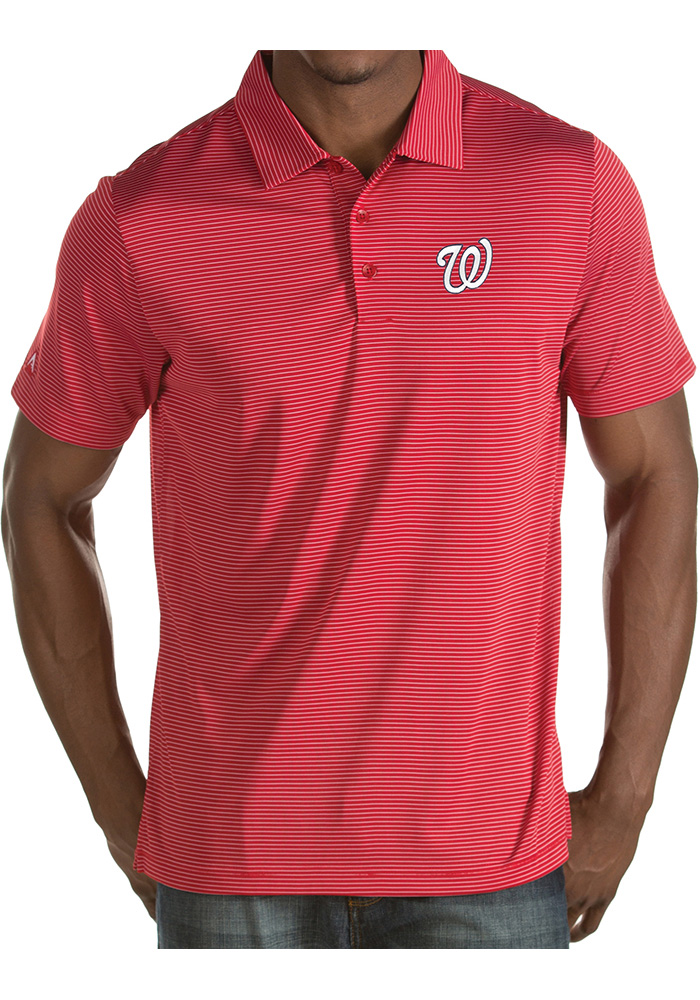Antigua Washington Nationals Mens Red Quest Short Sleeve Polo - Image 1