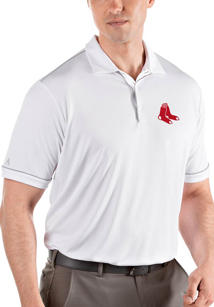 Antigua Boston Red Sox Mens White Salute Short Sleeve Polo - Image 1