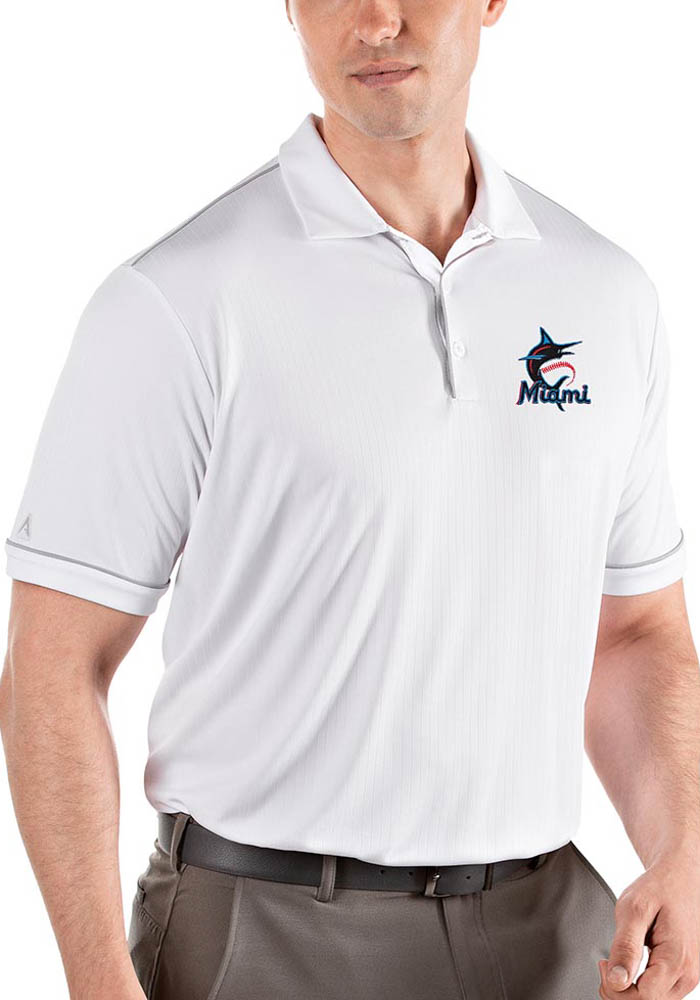 Antigua Miami Marlins Mens White Salute Short Sleeve Polo - Image 1