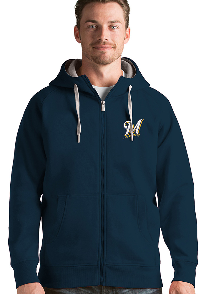 Antigua Milwaukee Brewers Mens Navy Blue Victory Long Sleeve Hoodie - Image 1