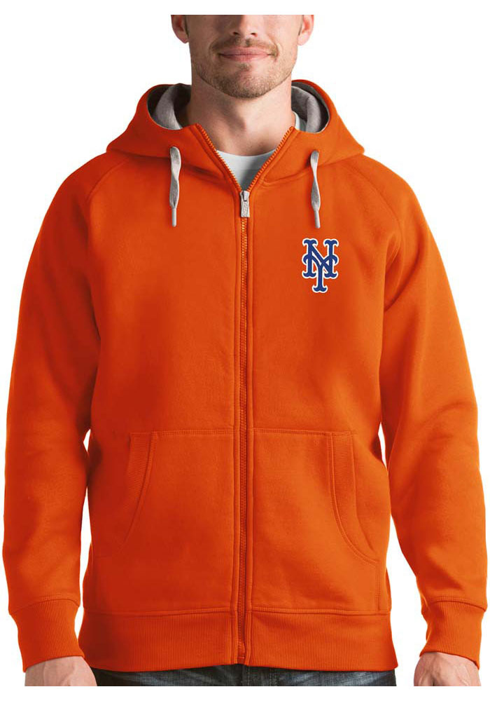 Antigua New York Mets Mens Orange Victory Long Sleeve Hoodie - Image 1