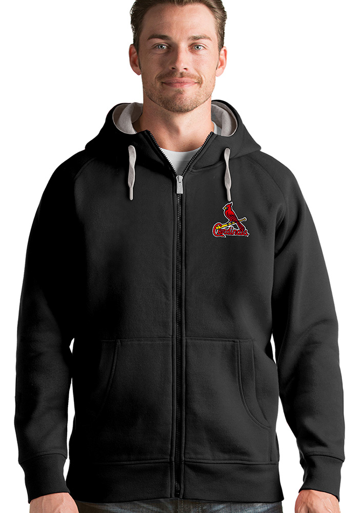 Antigua St Louis Cardinals Mens Black Victory Long Sleeve Hoodie - Image 1