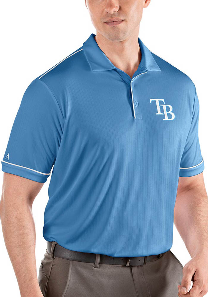 Antigua Tampa Bay Rays Mens Light Blue Salute Short Sleeve Polo - Image 1
