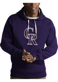 Colorado Rockies Antigua Victory Hooded Sweatshirt - Purple