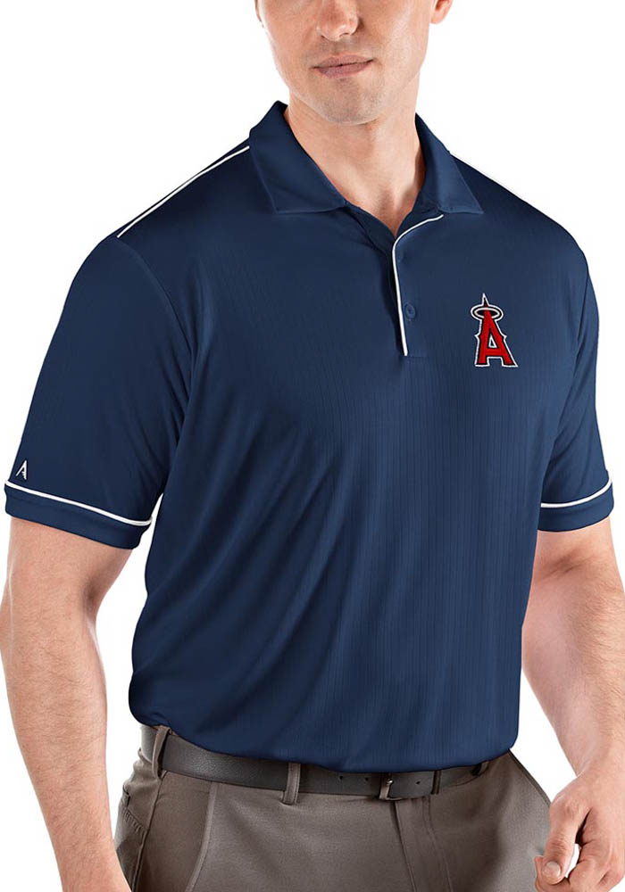 Antigua Los Angeles Angels Mens Navy Blue Salute Short Sleeve Polo - Image 1