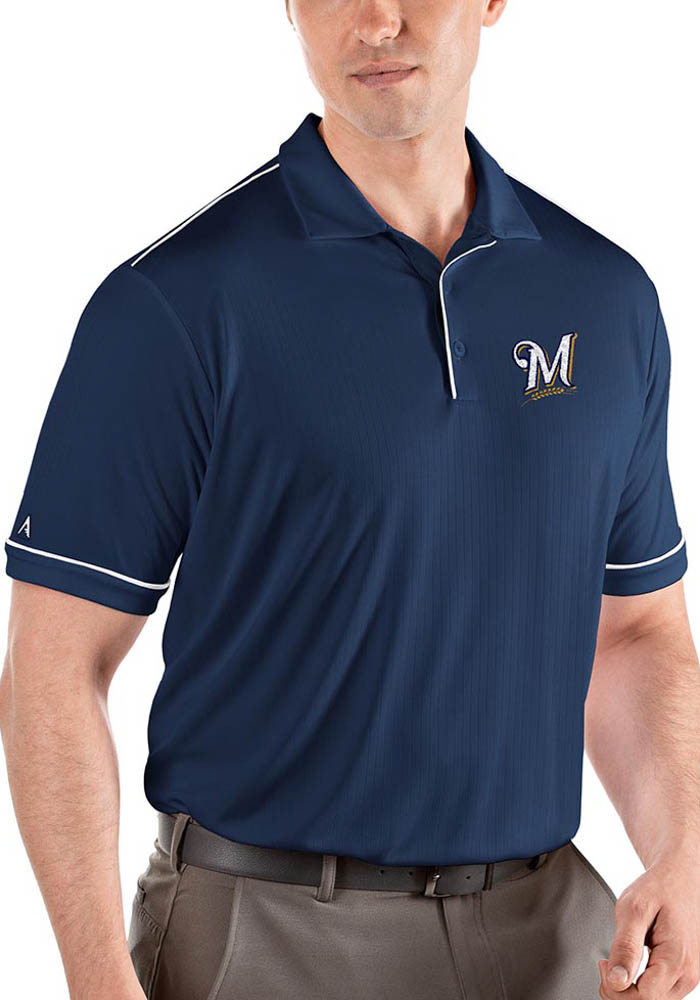 Antigua Milwaukee Brewers Mens Navy Blue Salute Short Sleeve Polo - Image 1