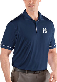 Antigua New York Yankees Navy Blue Salute Short Sleeve Polo Shirt