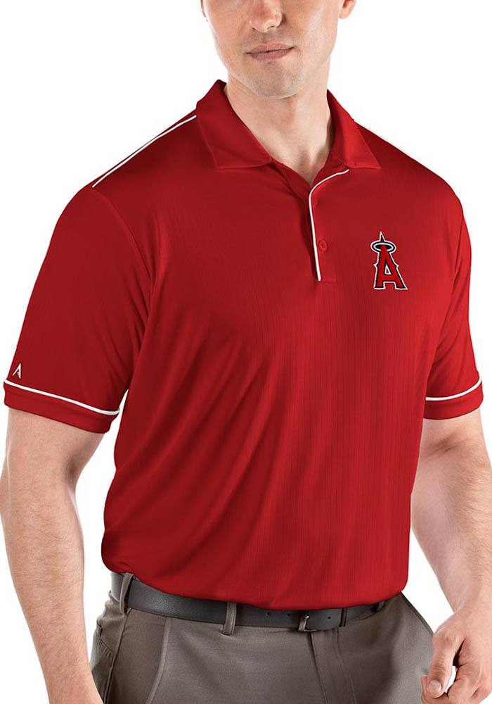 Antigua Los Angeles Angels Mens Red Salute Short Sleeve Polo - Image 1