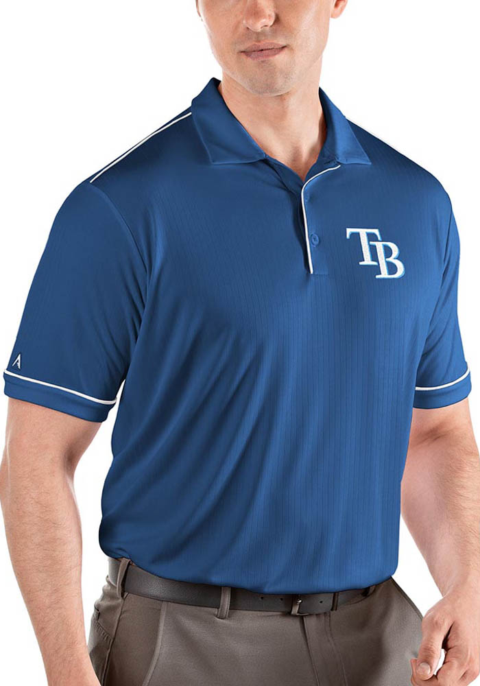 Antigua Tampa Bay Rays Mens Blue Salute Short Sleeve Polo - Image 1