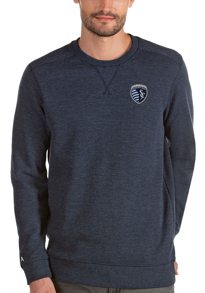 Antigua Sporting Kansas City Mens Navy Blue Defender Long Sleeve Sweater - Image 1