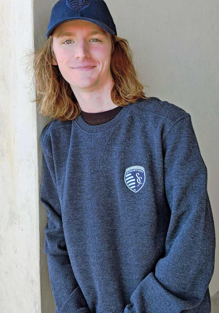 Antigua Sporting Kansas City Mens Navy Blue Defender Long Sleeve Sweater - Image 2