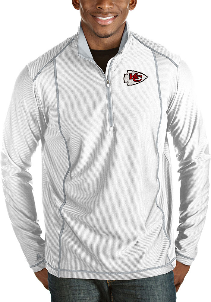 Antigua Kansas City Chiefs Mens White Tempo Long Sleeve 1/4 Zip Pullover - Image 1
