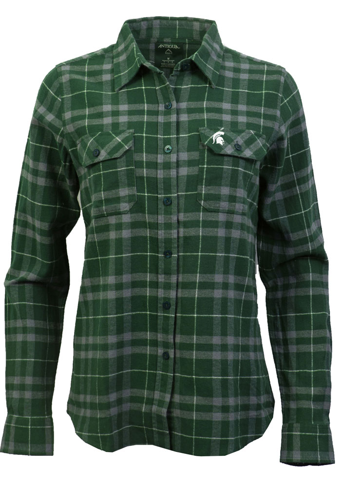 Antigua Michigan State Spartans Womens Stance Long Sleeve Green Dress Shirt - Image 1