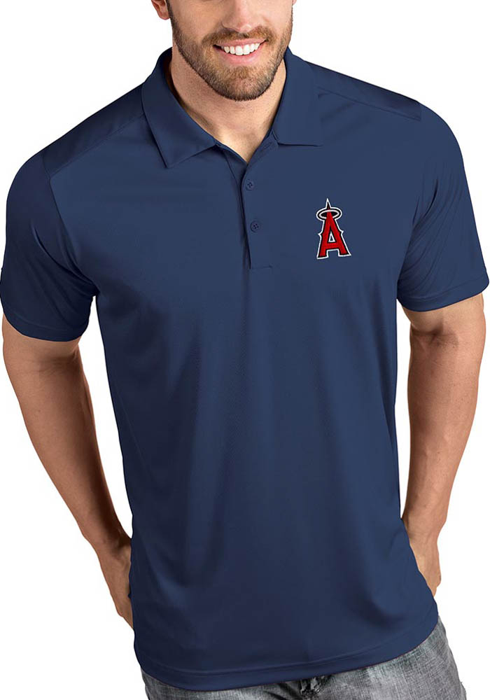 Antigua Los Angeles Angels Mens Navy Blue Tribute Short Sleeve Polo - Image 1