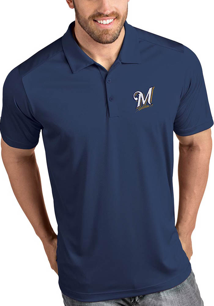 Antigua Milwaukee Brewers Mens Navy Blue Tribute Short Sleeve Polo - Image 1