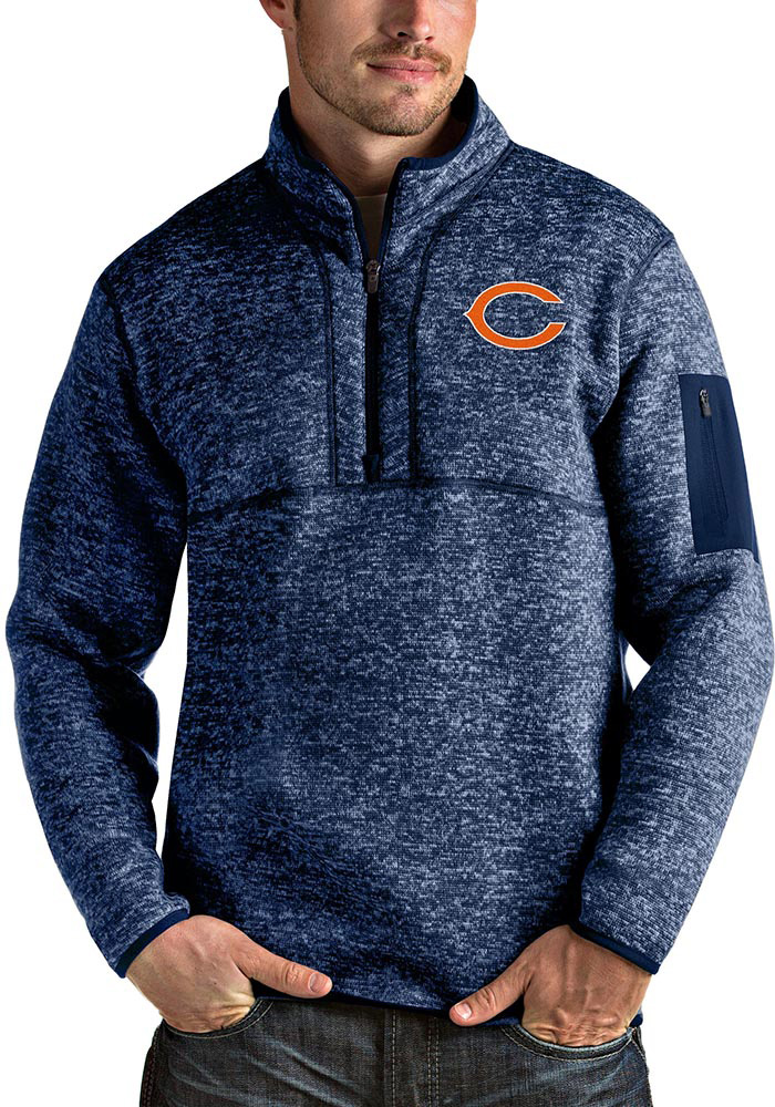 Antigua Chicago Bears Mens Navy Blue Fortune Long Sleeve 1/4 Zip Pullover - Image 1