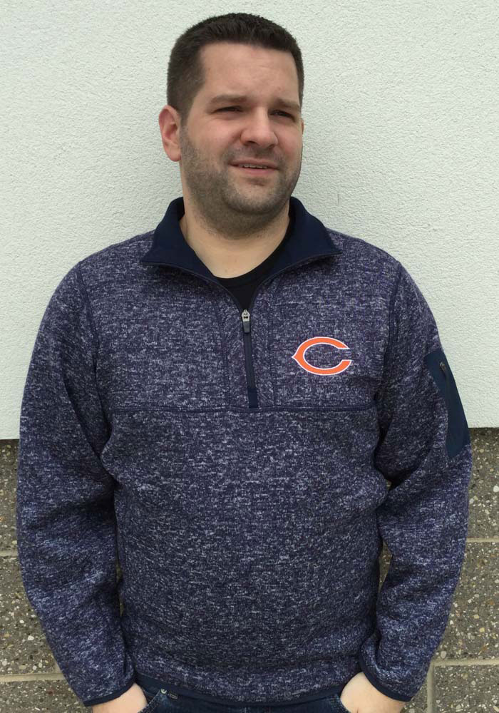 Antigua Chicago Bears Mens Navy Blue Fortune Long Sleeve 1/4 Zip Pullover - Image 2