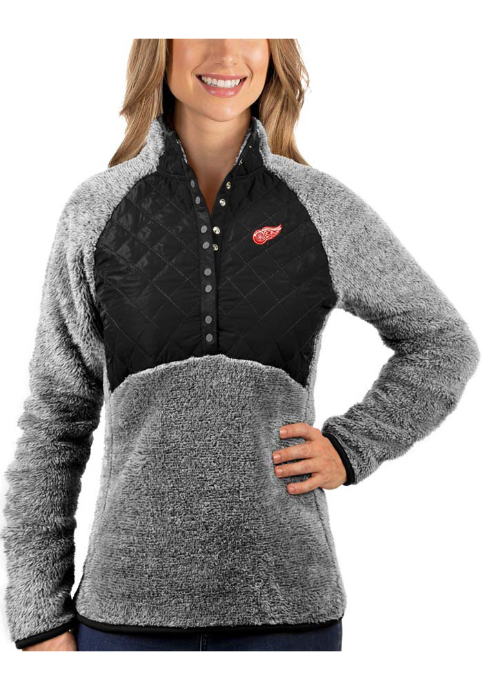 Antigua Detroit Red Wings Womens Surround Black 1/4 Zip Pullover