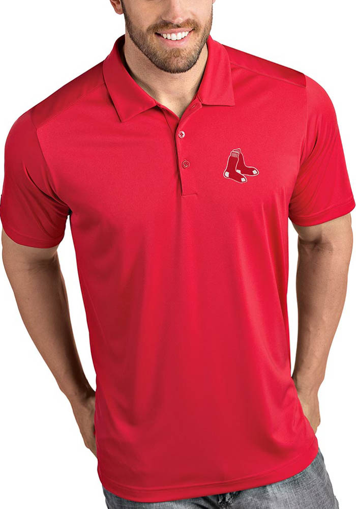 Antigua Boston Red Sox Mens Red Tribute Short Sleeve Polo - Image 1