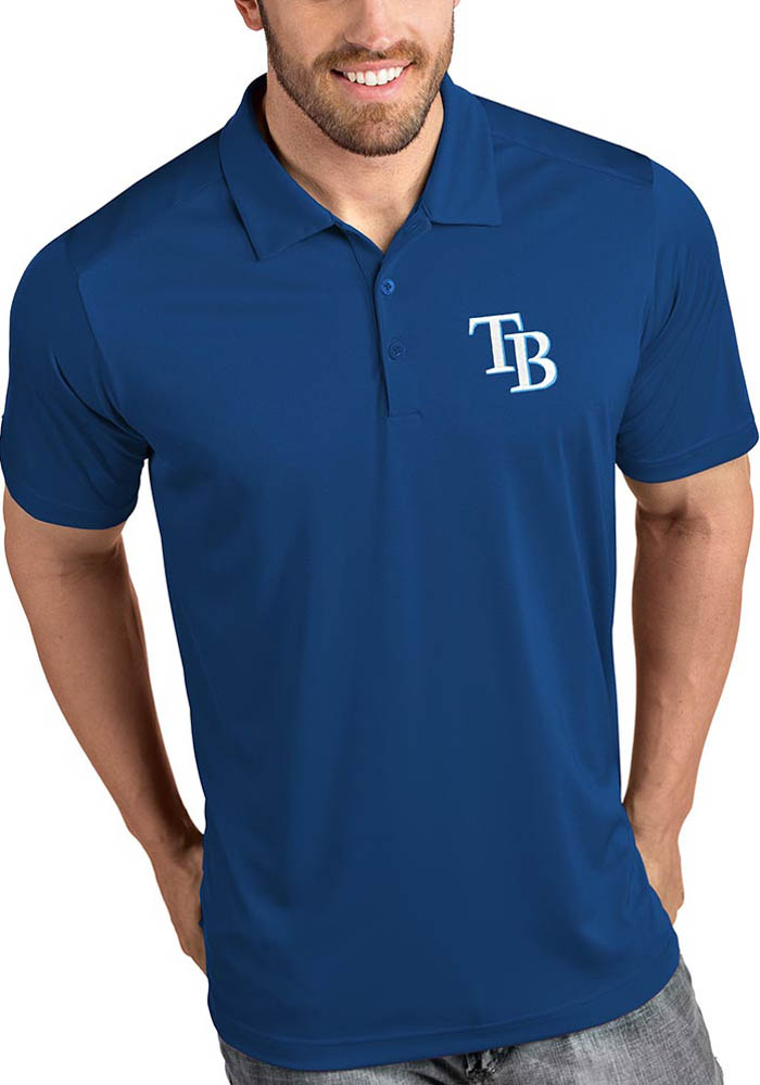 Antigua Tampa Bay Rays Mens Blue Tribute Short Sleeve Polo - Image 1