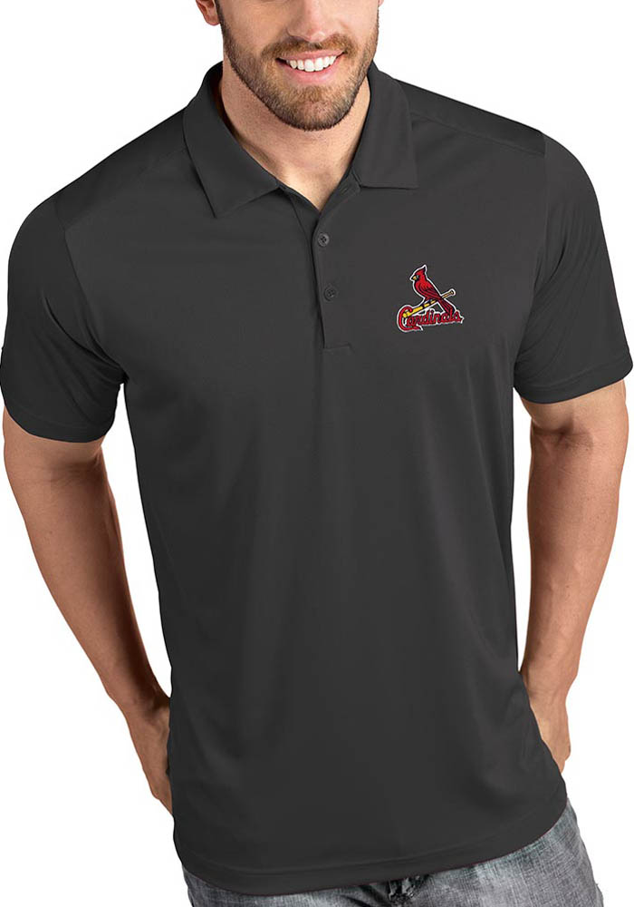 St Louis Cardinals Mens Grey Tribute Short Sleeve Polo - Image 1