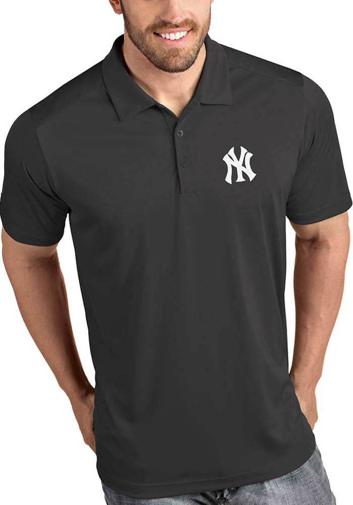 Antigua New York Yankees Mens Grey Tribute Short Sleeve Polo - Image 1