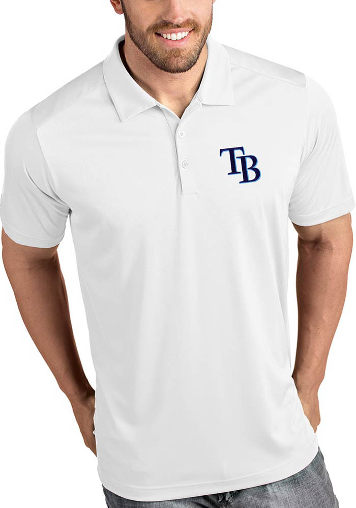 Tampa Bay Rays Mens White Tribute Short Sleeve Polo - Image 1