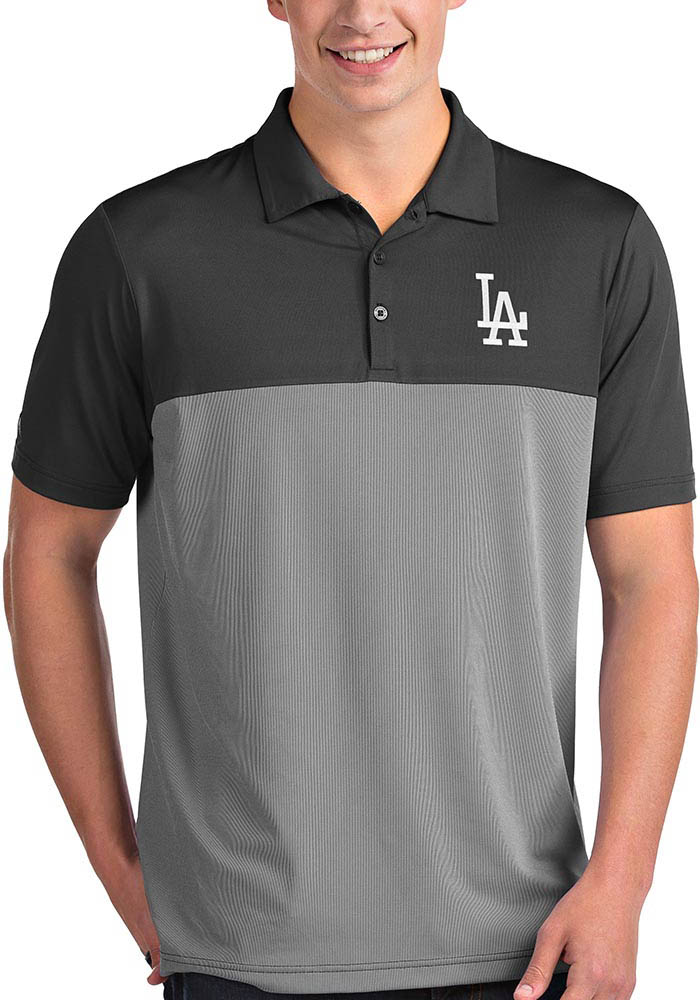 Antigua Los Angeles Dodgers Mens Grey Venture Short Sleeve Polo - Image 1