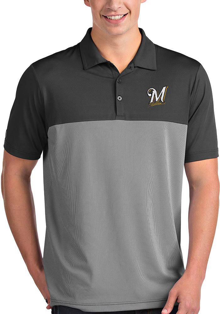 Antigua Milwaukee Brewers Mens Grey Venture Short Sleeve Polo - Image 1