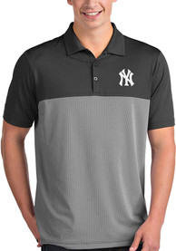 Antigua New York Yankees Grey Venture Short Sleeve Polo Shirt