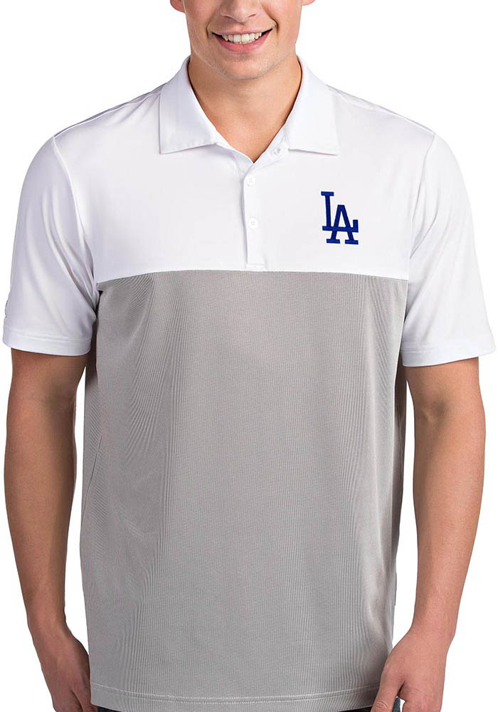 Antigua Los Angeles Dodgers Mens White Venture Short Sleeve Polo - Image 1