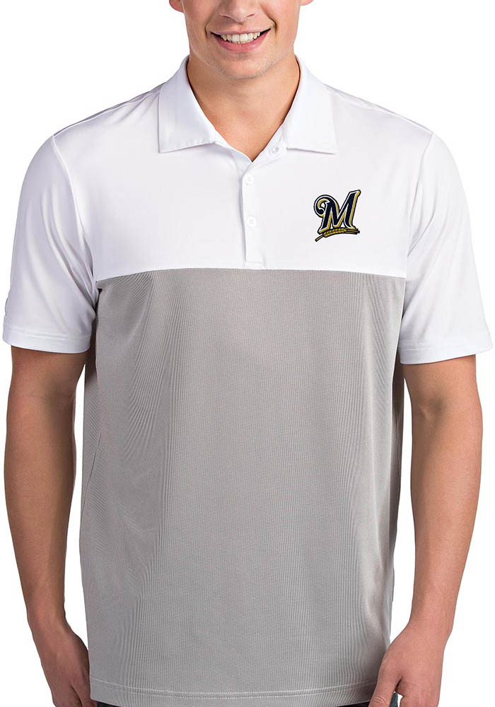 Antigua Milwaukee Brewers Mens White Venture Short Sleeve Polo - Image 1