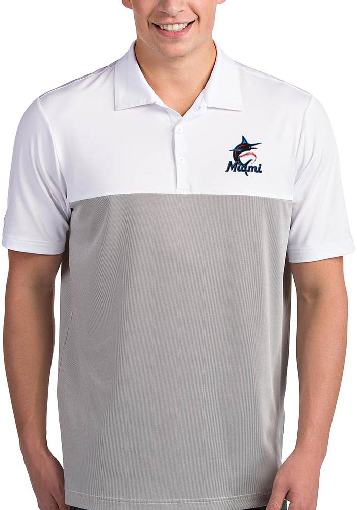 Antigua Miami Marlins Mens White Venture Short Sleeve Polo - Image 1