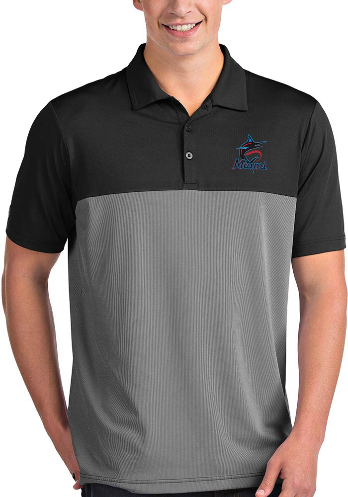 Antigua Miami Marlins Mens Black Venture Short Sleeve Polo - Image 1